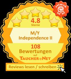 Bewertungen der M/Y Independence ll auf taucher.net